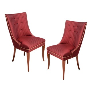 Maroon Fabric Upholstered Chairs-Pair For Sale