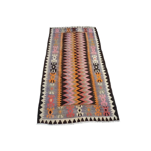 "Vintage Moroccan Kilim Rug - 3'9"" x 7'1"" - Image 2 of 3"