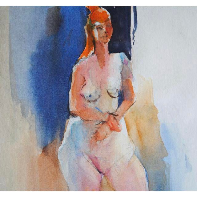 Original figurative watercolor by Rich Buchwald. Female nude study. Vibrant shades of pink, peach, neutrals and blue....