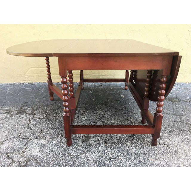 American Sheraton Cherry Acanthus Carved Drop-Leaf Table, Circa 1820 For Sale - Image 4 of 12