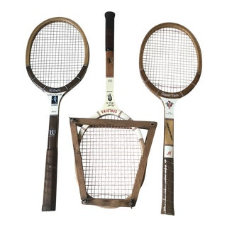 Vintage Mid-Century Wooden Tennis Rackets - Set of 3 For Sale