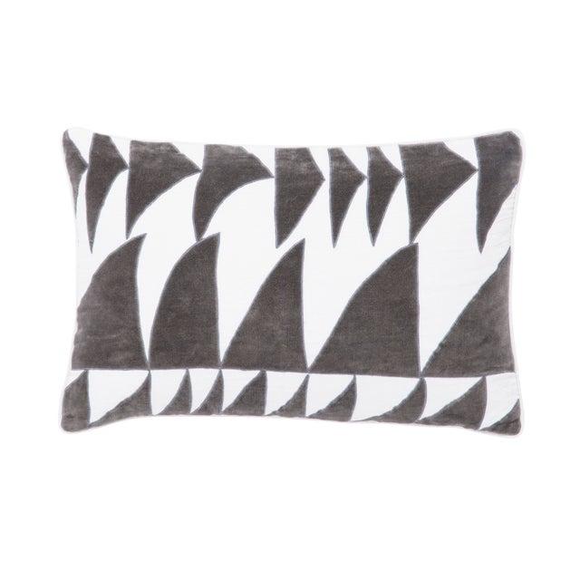 Nikki Chu by Jaipur Living Priscilla White/ Dark Gray Geometric Poly Throw Pillow For Sale