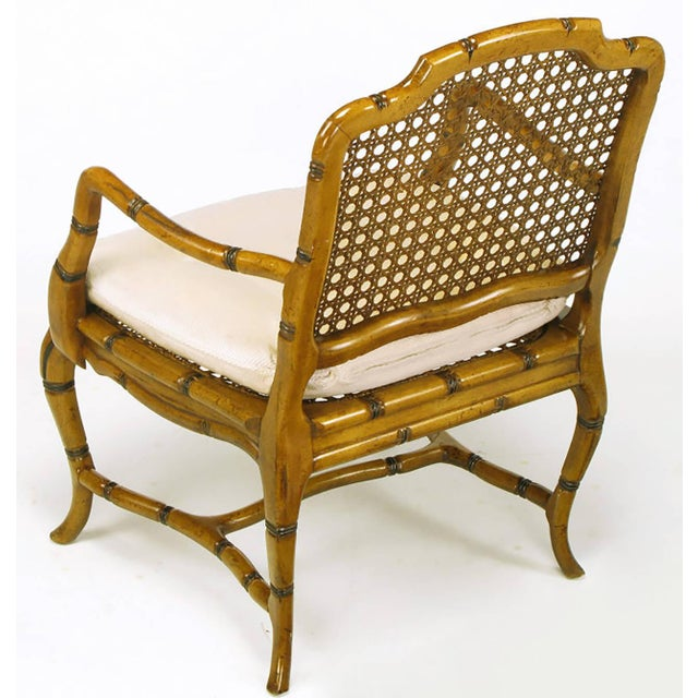 Bamboo-Form Cabriole Leg Cane Back Armchair For Sale In Chicago - Image 6 of 9