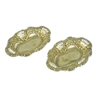 Vintage Traditional English Reticulated Brass Nut Dishes - a Pair For Sale