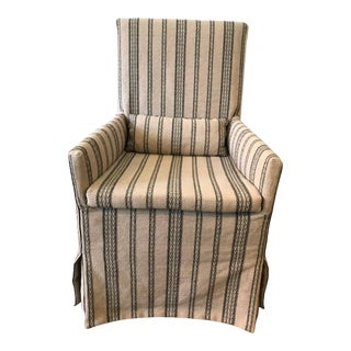 Tan Striped Upholstered Chair For Sale