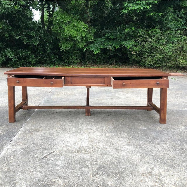 9th Century French Cherrywood Farm Table With Pair Benches For Sale - Image 12 of 13