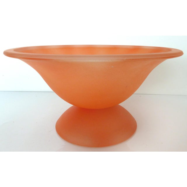 Mid-Century Modern Large Peach Murano Glass Pedestal Bowl For Sale - Image 3 of 8