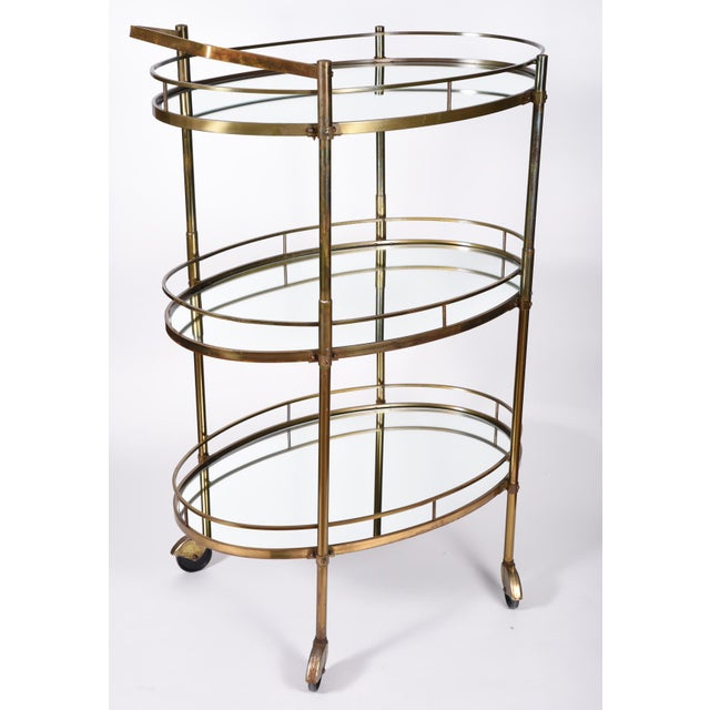 Vintage Three-Tiered Mirrored Shelves Wheeled Bar Cart For Sale - Image 4 of 7