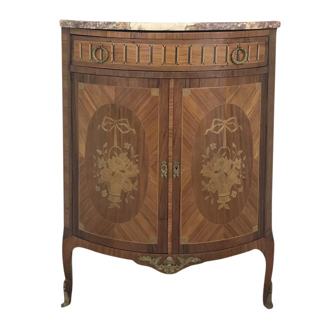 19th Century French Louis XVI Marquetry Marble Top Corner Cabinet For Sale