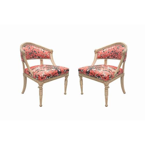 Mid-Century Modern Baltic Neoclassic Swedish White-Painted Chairs For Sale - Image 3 of 3