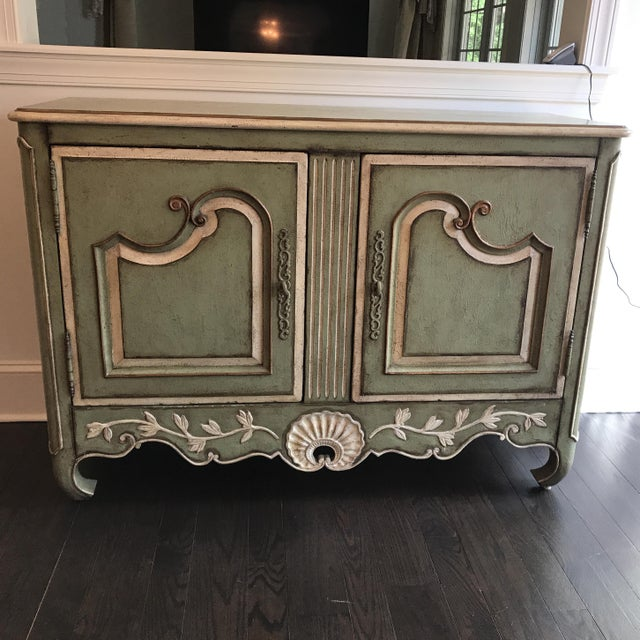 Cream Traditional Light Green With Cream and Gold Sideboard For Sale - Image 8 of 12