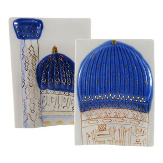 Turkish Blue and White Ceramic Art Jewels - a Pair For Sale