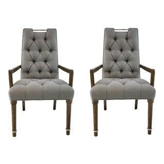 Transitional Drexel Heritage Gray Tufted Chandler Chairs Pair For Sale