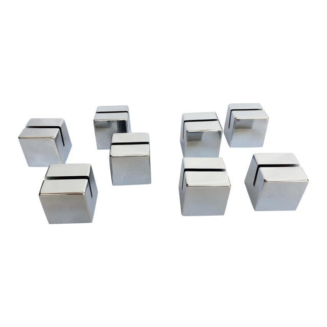 Chrome Cube Place Card Holders - Set of 8 For Sale