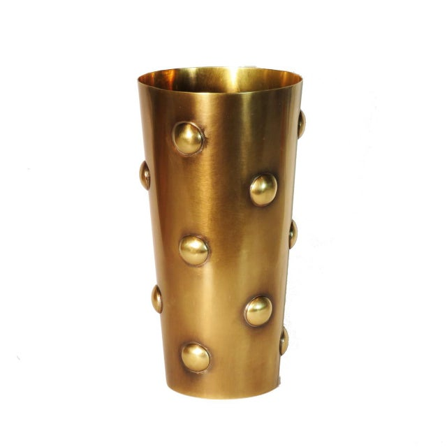 Boho Chic Brass Dots Vase For Sale - Image 3 of 3