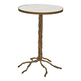 Isabella End Table, White, Antique Brass For Sale