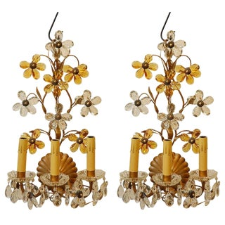 1950s Traditional Crystal Flower Detailed Wall Lights - a Pair