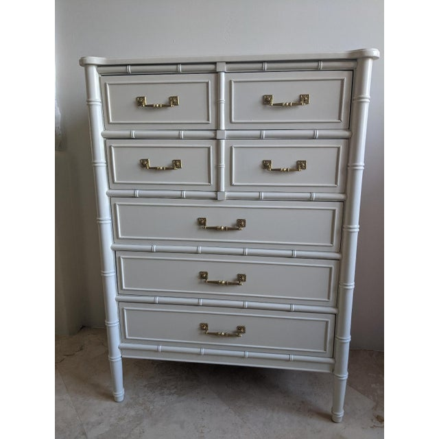 White 1970s Chinoiserie Henry Link Bali Hai Faux Bamboo Highboy For Sale - Image 8 of 8