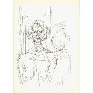 "Alberto Giacometti Annette (Lg) 11.5"" X 8.25"" Lithograph 1964 Modernism Brown For Sale"