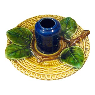 Art-Nouveau Majolica Match Striker , Marked in Hollow, Luxembourg, C.1900 For Sale