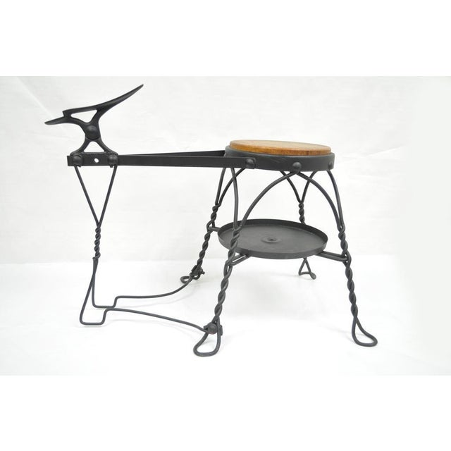 Antique Twisted Wrought Iron Shoe Shine Bench Oak Seat With Foot Rest Stool For Sale In Philadelphia - Image 6 of 11