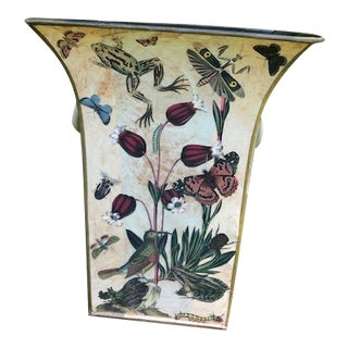 Flora and Fauna Decoupage Cache Pot For Sale