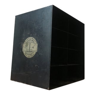 Vintage Lasher & Lathrop Black Metal Desk Storage Cabinet
