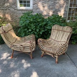Modern Franco Albini Style Rattan Armchairs- A Pair Preview