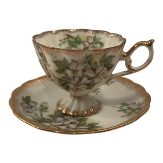 1940s Fred Roberts Green and Yellow Floral Tea Cup and Saucer - a Pair For Sale