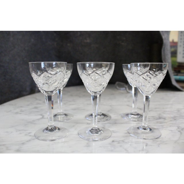 Glass Mid 20th Century Cut Glass Liquor Cordials - Set of 6 For Sale - Image 7 of 7