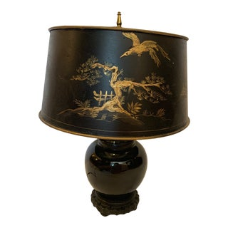 Black and Gold Chinoiserie Table Lamp For Sale