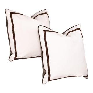 Pair of Custom White and Brown Velvet Pillows For Sale