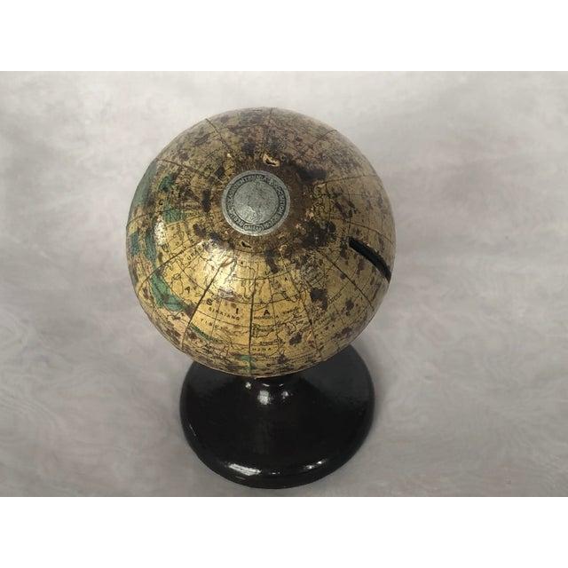 Tan Vintage World Desk Globe Die Cast Metal Bank For Sale - Image 8 of 13