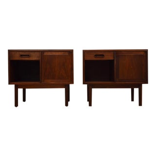 Walnut Mid Century Nightstands - a Pair For Sale