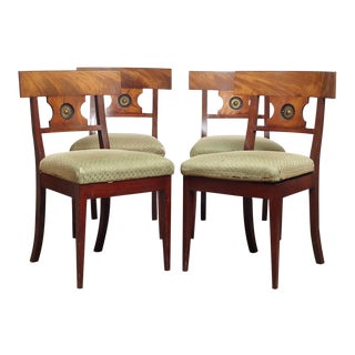 19th Century Danish Empire Mahogany Side Chairs- Set of 4 For Sale
