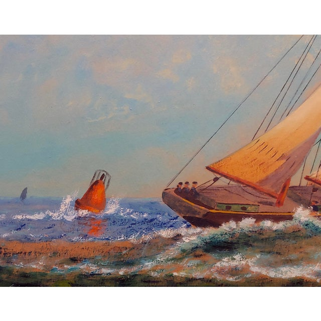 "Impressionist E. D. Ward ""Sailboat Racing"" Painting, 1950s For Sale - Image 3 of 10"
