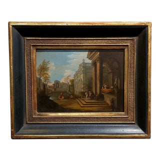 Italian Capriccio -Stunning 18th century oil painting on Copper