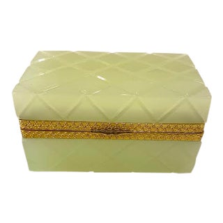 Mid 20th Century Opaline Glass Box in Citrus For Sale