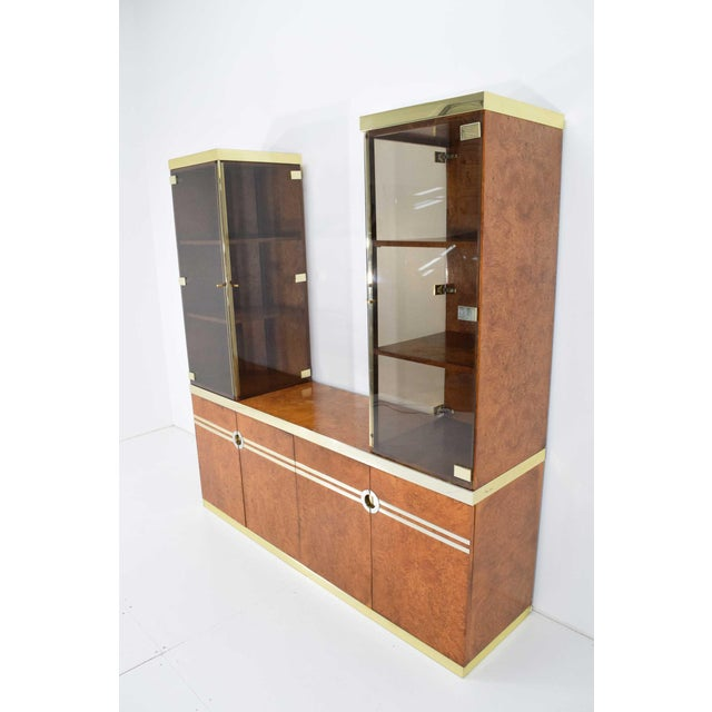 Pierre Cardin 1970s Pierre Cardin Signed Burl Wood Sideboard With Two Tower Cabinets, France For Sale - Image 4 of 13