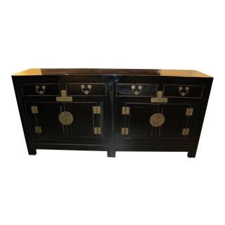 1900s Chinese Black Lacquered Sideboard For Sale