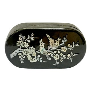 1980s Asian Mother of Pearl and Black Lacquer Mirrored Jewelry Box