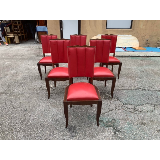 1940s Vintage French Art Deco Solid Mahogany Dining Chairs - Set of 6 For Sale - Image 4 of 13