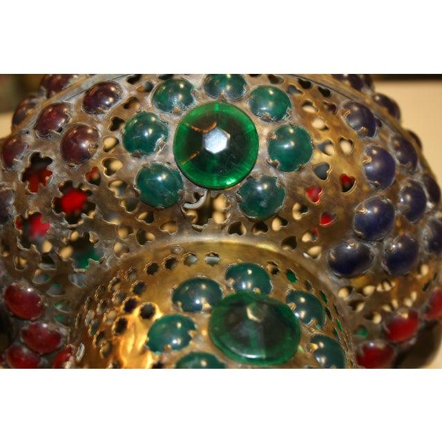Brass Vintage 1970s Turkish Brass Multicolor Lantern For Sale - Image 8 of 9