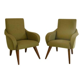 Pair of Elegant Curvy Mid Century Modernist Chairs For Sale