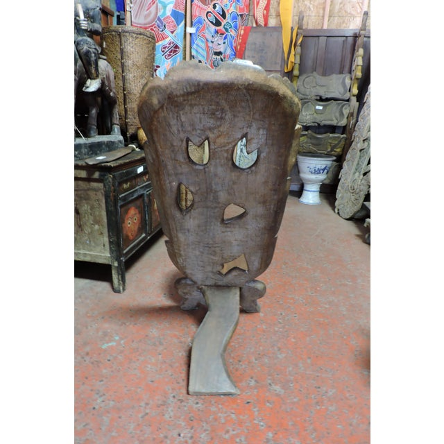 Anonymous Carved African Wooden Chair With Antelope Figure For Sale - Image 4 of 6