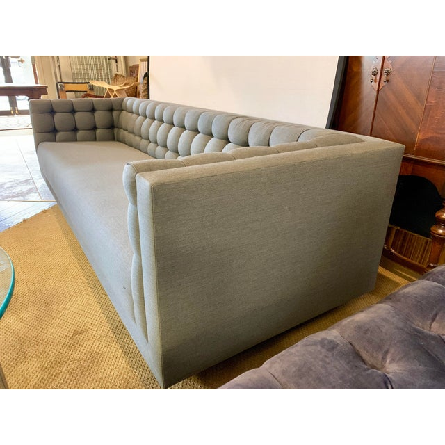 1970s 1970s Vintage Milo Baughman Chrome and Tufted Gray Sofa For Sale - Image 5 of 13