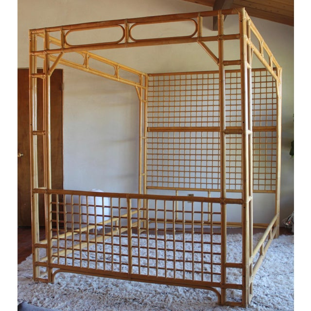 Vintage Queen Rattan and Bamboo Chippendale Chinoiserie Canopy Bed - Image 2 of 11