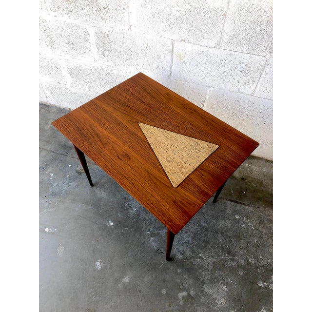 Vintage Mid Century Modern End Table With Travertine Inlay. For Sale In Miami - Image 6 of 10