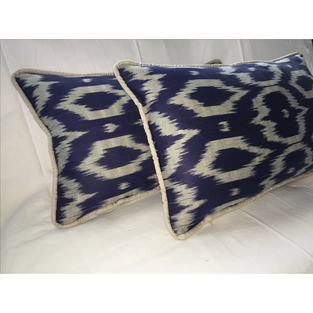 Navy Blue & Gray Silk Atlas Ikat Pillows - A Pair - Image 3 of 5