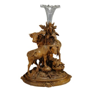 1890 Group of Carved Cattles With Glass Vase Inset, Brienz For Sale